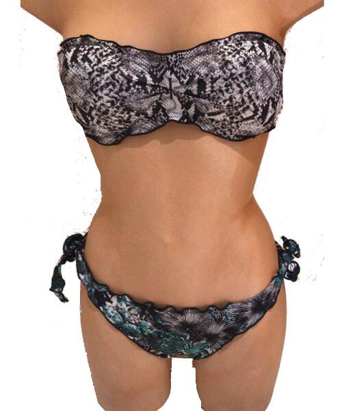 Bikini F**K a fascia e bretelline rimovibili  e slip laccetto brasiliano regolabile 2020