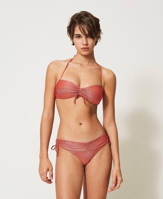 Twin-Set reggiseno a Fascia da bagno in lurex Bikini 2021 Rosso 'Corallo Lurex'