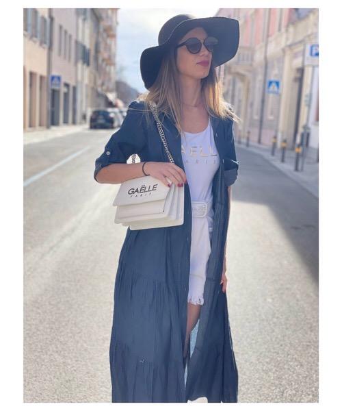 BE WHITE Milano Abito lungo chemisier stampa jeans
