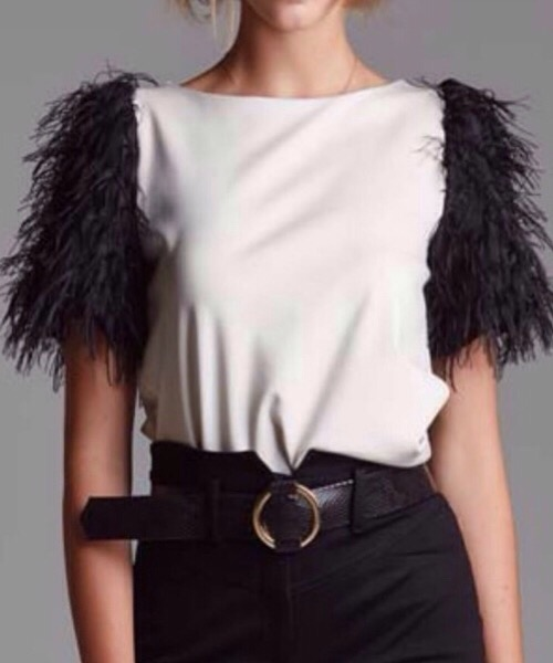 Maglia in punto Milano con piume  Operá Fashion