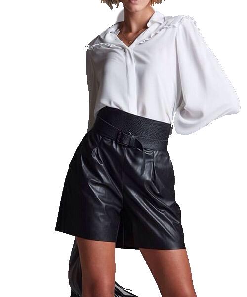 Pantalone Short nero  eco-pelle Operá Fashion