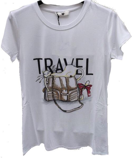 T-Shirt con stampa arricchita di strass Twin-Set