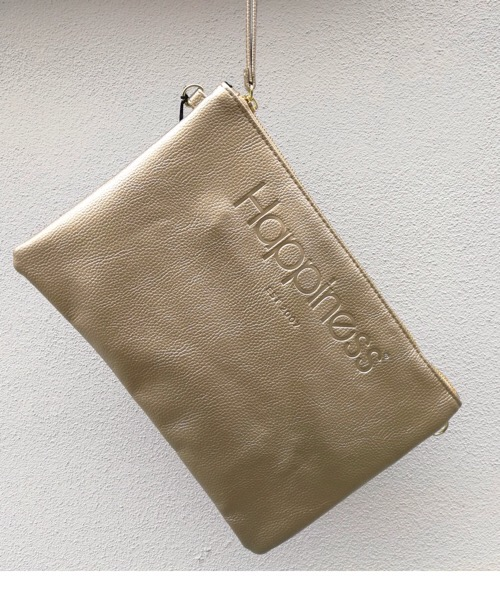 Borsa Pochette Happiness oro metal in ecopelle