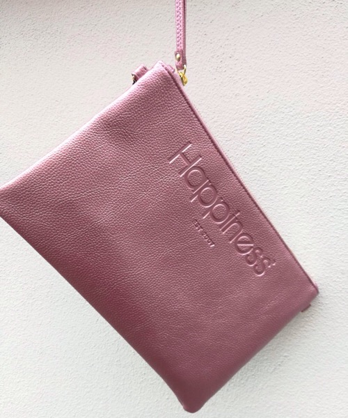 Borsa Pochette Happiness rosa metal in ecopelle