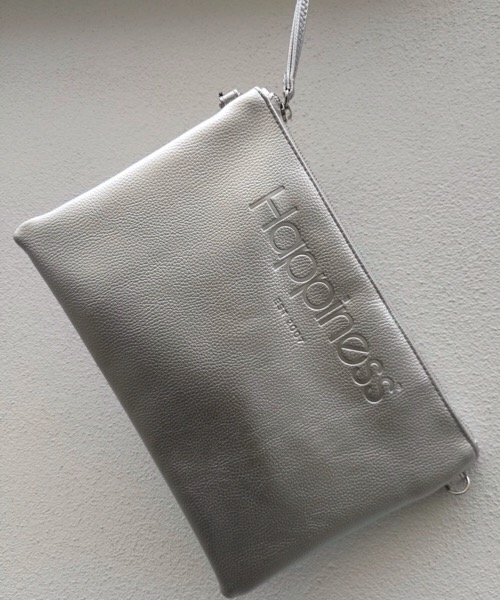 Borsa Pochette Happiness argento metal in ecopelle