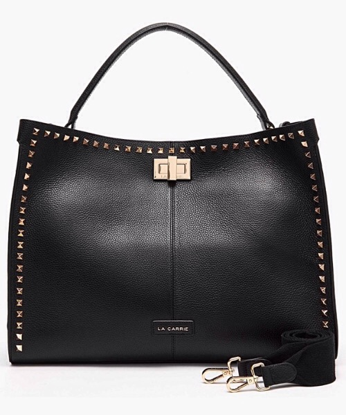 SHOPPER BAG NERO STUDS SILVIE  BOT. PELLE La Carrie